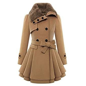 hengzhi women 39 s warm heavy coat fleece collar waist belt. Black Bedroom Furniture Sets. Home Design Ideas