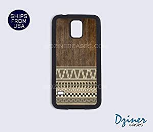 Galaxy S4 Heavy Duty Tough Case Cover - Dark Wood Aztec (Not Real Wood)