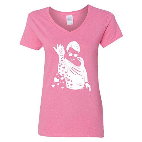 Salt Bae Nusret Womens V-Neck T-Shirt Pinch Saltbae Stake Turkish Chef Heart Love (Azalea Pink,XX-Large)