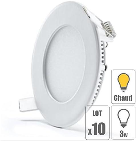 TechBox lot x10 Spot led encastrable extra plat downlight rond 3w slim blanc chaud ultra slim pour plafonnier