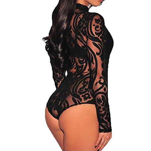 YUYU Mujeres Cuello alto La manga larga Impresión de la Hebilla de la entrepierna Delgado Suave Moda Pijamas de una pieza De dos colores Black