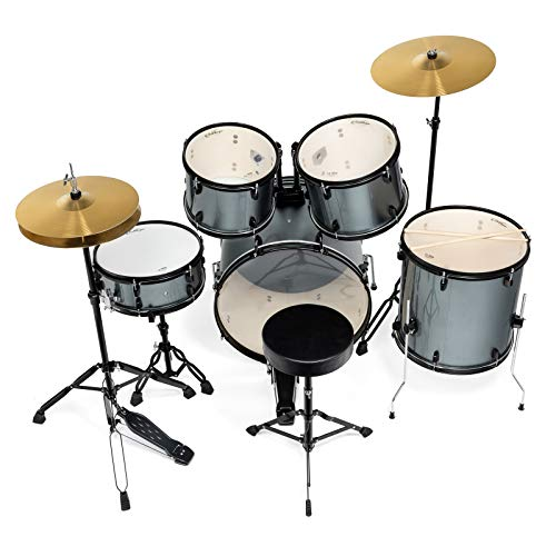 Ashthorpe 5-Piece Complete Full Size Adult Drum Set with Remo Batter Heads - Silver by Ashthorpe (Image #3)