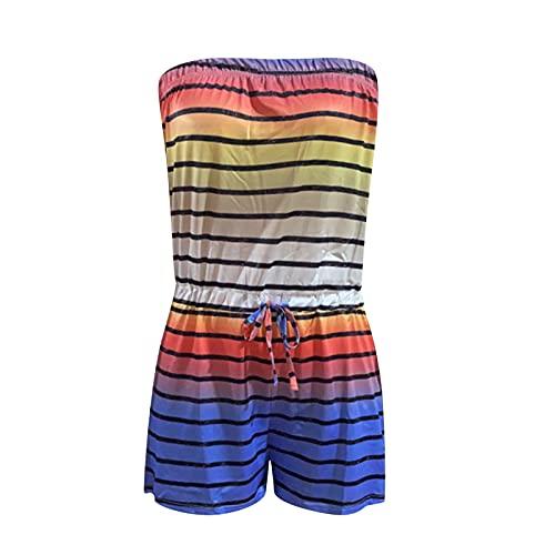 Keepfit Women's Off Shoulder Romper Beach Floral Printed Strapless High-Waist Short Jumpsuit Tube Short Jumpsuit with Pockets