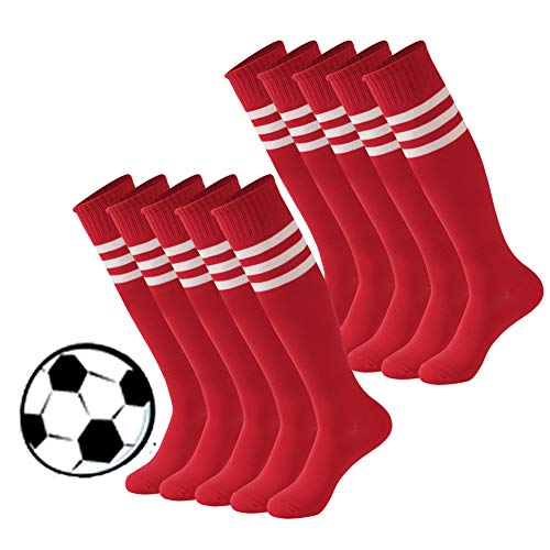 (Calbom XL Comfort Fancy Design Knee High Football Soccer Cosplay Socks Pack of 10 Red One Size for Man and Woman Sports)