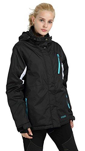 Krumba Women's Sportswear Outdoor Waterproof Windproof Hooded Ski Jacket Black US Size L