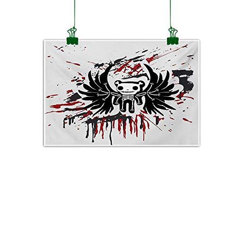 Halloween,Wall Decor Teddy Bones with Skull Face and Wings Dead Humor Funny Comic Terror Design Unframed Art Pearl Black Ruby W 36
