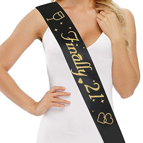 21st Birthday Sash for Girls and Women - Finally 21 Sash - 21st Birthday Gifts for Her - Premium Satin Ribbon with Gold Encased Glitter Lettering - Funny Party Decorations, Supplies, Black]()