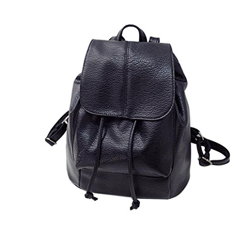 Sikye Women Leather Schoolbags Travel Shoulder Bag Mochila Casual Backpack Book Bag For Boys Girls Students (Black 3)