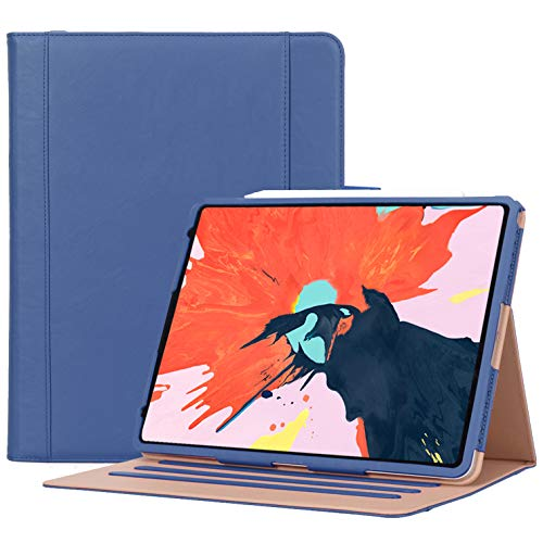ProCase iPad Pro 12.9 Case 2018 3rd Generation, Vintage Stand Folio Cover Protective Case for Apple iPad Pro 12.9 Inch 2018 Release, Support Apple Pencil Charging –Navy