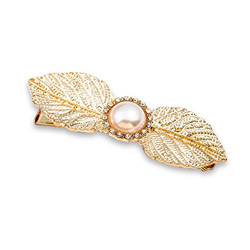 Special Beauty Nice 1PC Fashion Women Girls Pearl Leaf Shape Hair Clip Alloy Hairpins Barrette Ornament Hair Accessories Gold
