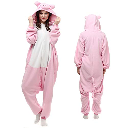 Pink Pig Animal Onesie Adult Teen Women Men Pajamas Cosplay Sleepwear Costume Cartoon