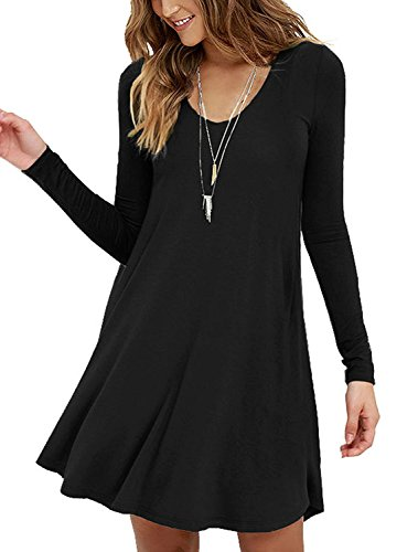 Viishow Womens Round Neck 3/4 Sleeves A-Line Casual Tshirt Dress (M, Long Sleeve Black) (Sweetheart Neck Tank)