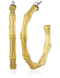 Kenneth Jay Lane Satin Gold Medium Bamboo Pierced Earrings