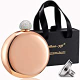 Booze Shot Flask- AB Crystal Lid Creative 304 Stainless Steel Wine Alcohol Liquor Flask for Women Girls Men Party Hand size Flask-5OZ (rose gold)