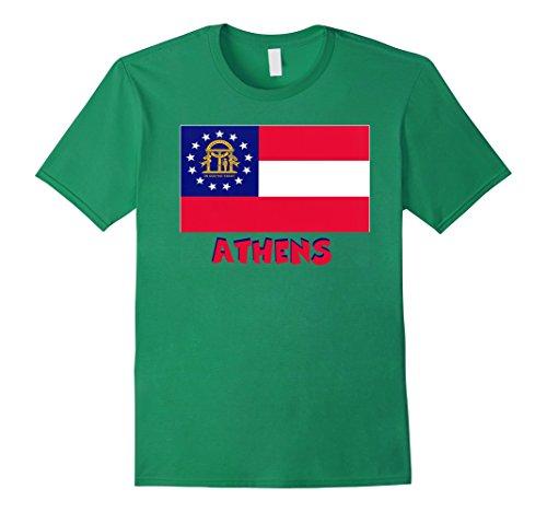 Mens Souvenir Athens Georgia Flag T-Shirt Medium Kelly (Green Athens Polyester)
