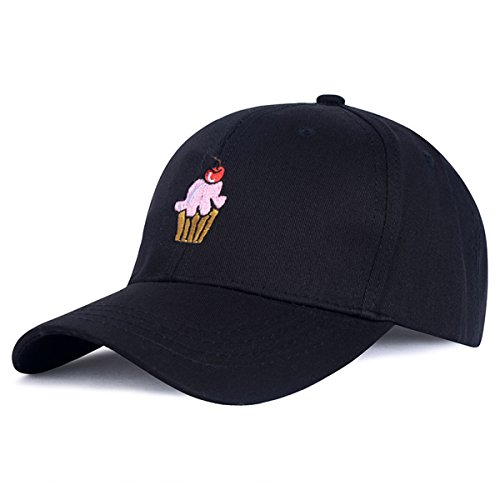 Blackblume Ice Cream Embroidered Cotton Strapback Baseball Cap Cotton Adjustable Hip-pop Hat (Black)