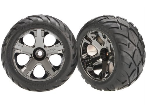 Pre Mounted Front Tire (Traxxas 3777A Anaconda Tires Pre-Glued on All-Star Black-Chrome Wheels (nitro front) (pair))