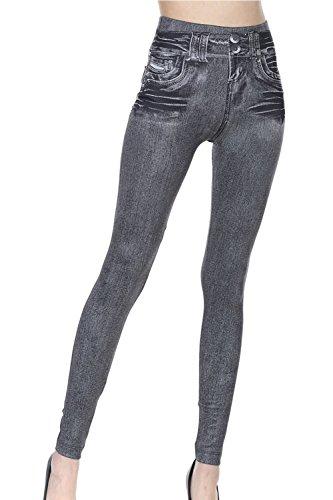 Alto In Grey Scappando Le Imitato Skinny Pantaloni Donne Jeans Solido w1xpHYqn