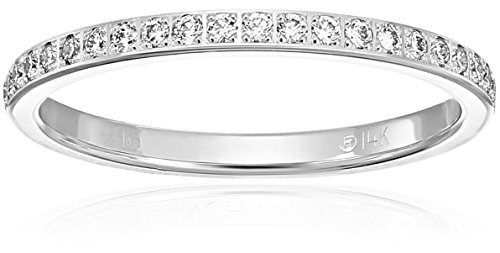 14k Gold 2mm Pave Set Wedding Band Stackable Ring (1/4cttw, SI1, G Color)