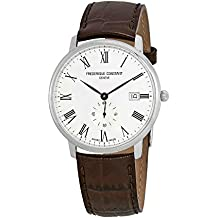 Frederique Constant Slimline White Dial Leather Strap Men's Watch FC245WR5S6DBR