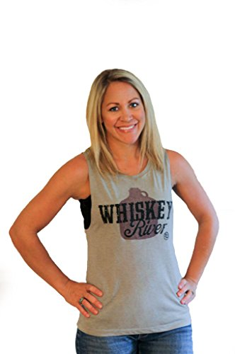 Country Old Print - Tough Little Lady Womens Shirt Whiskey River Take My Mind Graphic Print on a Feminine Muscle Top by Mus Wheat SM