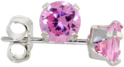 3 Pair Set Sterling Silver Cubic Zirconia Pink Earrings Studs 4 mm Pink Zircon Color 1/2 carat/pair