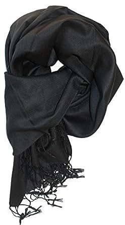 Anika Dali Women's Solid Color Best Quality Pashmina Shawl (Black)