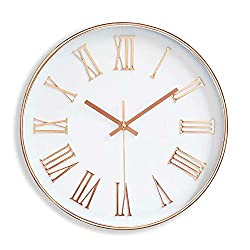 FlorLife 12 Inch Indoor Outdoor Modern Wall Clock Silent Non Ticking Round Hanging Clock Home Decor 3D Arabic Numerals - Gold