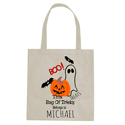 (BleuReign Custom Personalized Name - This Bag Belongs to - Reusable Candy Halloween Trick Or Treat Ivory Tote)