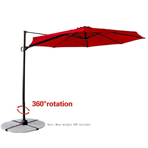FLAME&SHADE 10' Hanging Offset Cantilever Umbrella Market Style with Tilt for Outdoor Patio Table Outside Deck Large Pool Shade, Red
