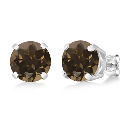 Brown Smoky Quartz 925 Sterling Silver Basket Stud Earrings (3.40 cttw, 8MM Round Cut) (Box Smoky Jewelry Silver Quartz)