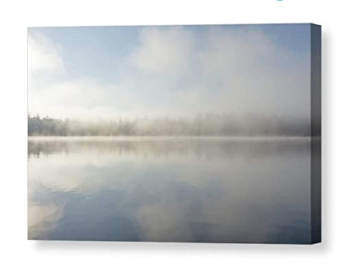 Amazon Com Misty Morning Serene Nature Photography On Canvas Clear Lake Fog Photo Dreamy Clouds Print Ethereal Wall Art Pacific Northwest Home Decor Ready To Hang 8x10 8x12 11x14 12x18 16x20 16x24 20x30