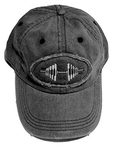 Bodybuilding Store Charcoal Raw Edge Patch Barbell Baseball Cap (Charcoal)