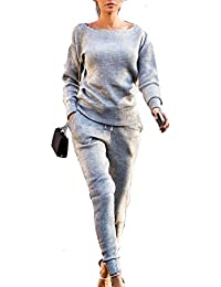 Womens Winter Fall Rib-knit Pullover Sweater Top & Long Pants 2Pcs Tracksuit Set Outfit