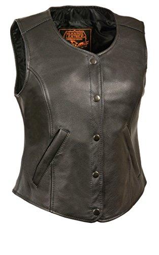 Mens Premium Leather Vest - Milwaukee Men's Premium Leather Plain Vest with 2 Front Hidden Pocket (Black, X-Large)