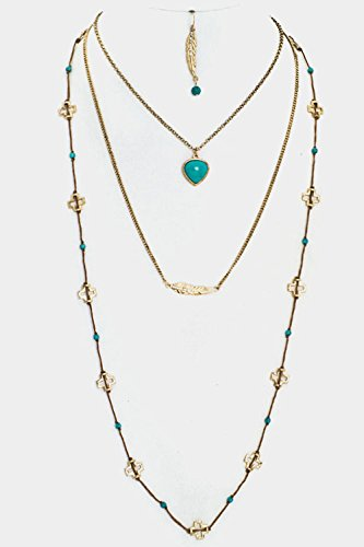 ry Heart and Etched Leaf Pendant Cross Link Triple Layered Chain Ne By Fashion Destination | (Burnished Gold) (Hammered Leaf Pendant)