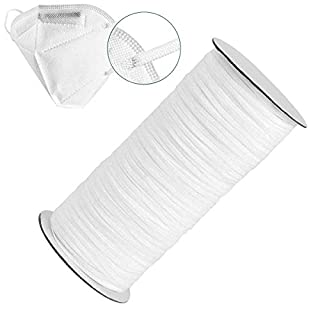160 Yards Length 1/8 Inch Width Elastic Band White Briaded Knit Elastic String Cord Heavy Stretch Elastic Band for Sewing Craft DIY (1/8inch(160Yard), White)