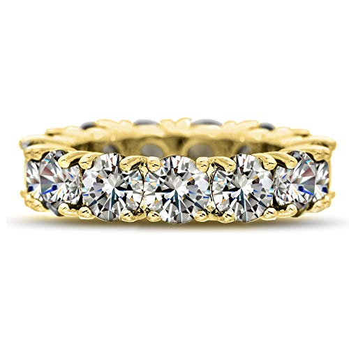(Mia Sarine Round Cubic Zirconia Eternity Band for Women in Yellow Gold Plated Brass (Size 7))