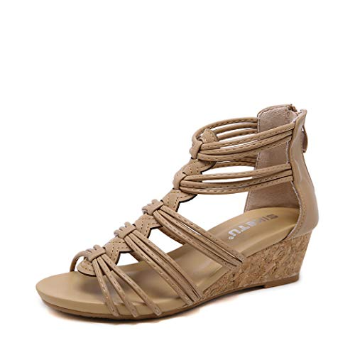 (Womens Vintage Cork Wedge Sandals Ladies Open Toe Zipper Shoes Classic Strappy Flatform Sandals Apricot)