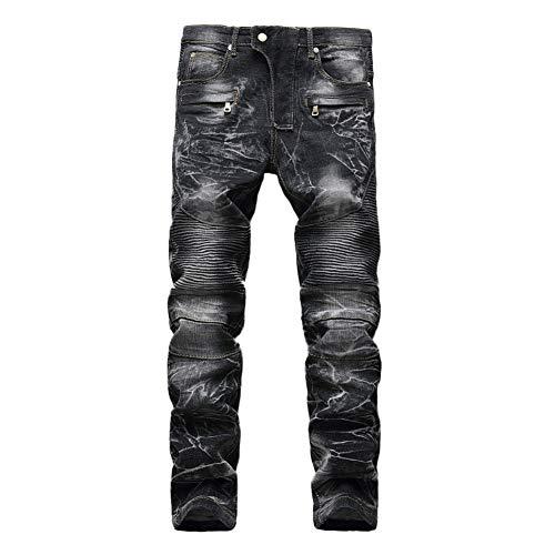 GuoCu Herren Retro Motorradhose Straight Destroyed Jeans Stretch Slim Fit Denim Schutzhose Cargo Motorradjeans Biker…