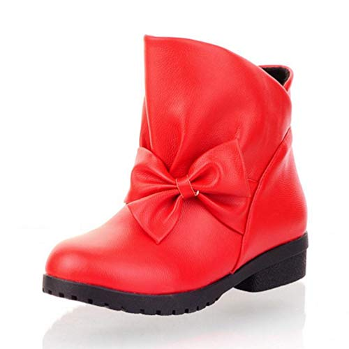 DETAWIN Women Mid Calf Winter Boots Waterproof Round Toe Warm Bowknot Slip On Ladies Low Block Heel Boot