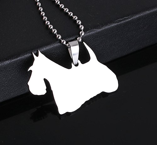 Stainless Steel Scottish Terrier Scottie Aberdeenie Silhouette Smiley Sammy Pet Dog Tag Breed Collar Charm Pendant Necklace by Dogdotnet