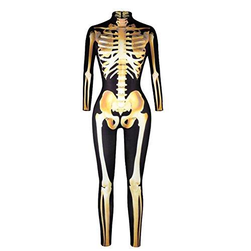 GuPoBoU168 Womens Halloween Punk Rock Skull Skeleton Bones Print Jumpsuit Golden XL -