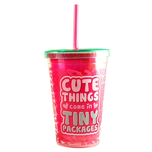 - 10 oz. Crazy Curly Straw Reusable Cup with Lid and Straw, BPA Free - Cute Things Come in Tiny Packages