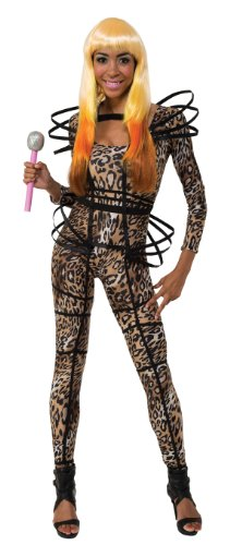 Secret Wishes  Costume Nicki Minaj Collection Leopard Print Catsuit With Hoops, Brown/Black, X-Small -