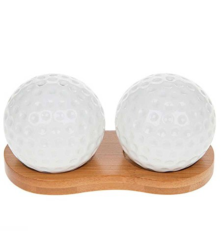 White Golf Balls Cruet Set, Bamboo Stand ()