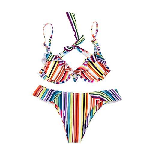 Valentine Best Gift!!!Aries Esther Fashion Sexy One-Pieces Swimwear Women Large Size Pure-Color Striped Backless Bikini Swimsuit Push-Up Padded Bra (Multicolor, L)