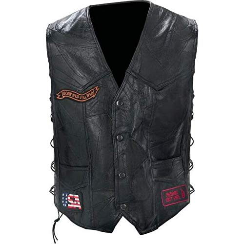 Diamond PlateTM Rock Design Genuine Buffalo Leather Biker Vest (X-Large/Black) ()