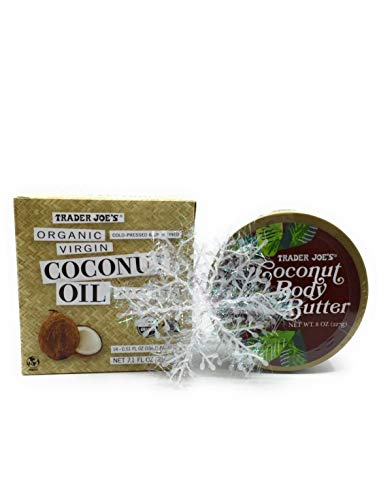 Trader Joe's Coconut Bundle- Organic Virgin Coconut Oil Packets (14) Cold Pressed and Unrefined Essential Fatty Acid Supplement and Coconut Body Butter Plus Bonus Free Set of Snowflakes by Zee