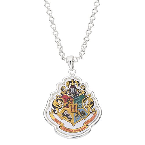 Harry Potter Jewelry for Women and Girls, Silver Plated Hogwarts Crest Pendant, 24